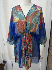 LADIES SHEER FLORAL PRINT BEACH COVER UP / TOP BLUE ONE SIZE NEW (ref 382) SALE