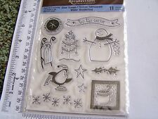 CLEAR RUBBER STAMPS CHRISTMAS WINTER SNOWMAN PENGUIN COCOA SLED TREE FLAKES STAR