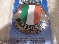 IRELAND IRISH FLAG CAR GRILLE BADGE CHROME EMBLEM GUINNESS