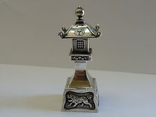 Fine Antique Chinese 950 Silver Salt Pagoda Tower Repousse Shi Foo Dogs H8.2 cm