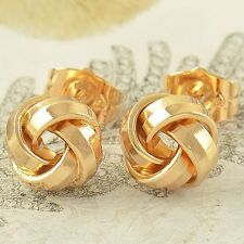 Cute 9K Yellow Gold Filled Womens Girls Fashion Love-Knot Small Stud Earrings
