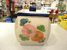 VERY VINTAGE HAND PAINTED TEXTURED BISQUIT CRACKER JAR CANISTER ART POTTERY