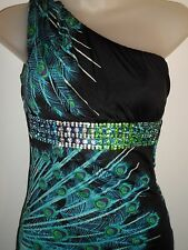 Sky Brand Clothing S Top Rhinestone Crystal Peacock One Shoulder Ruffle Spring