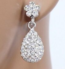 #E374B CLIP ON Flower Teardrop Deluxe Clear Crystal Dangle Earrings Comfy New