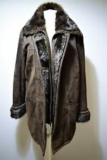 SHERLING STYLE JACKET LEATHER SUEDE COAT OUTDOOR BROWN GERMAN FABIANI 16 18 L