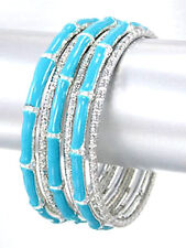 NEW NWT Set of 6 Metal Stackable Silver Turquoise Blue Bangle Bracelets