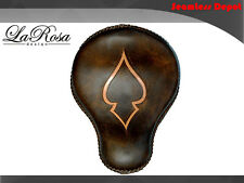 "16"" La Rosa Rustic Brown Leather Tan Ace Harley Cross Bones Custom Solo Seat"