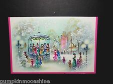 # J158- Unused Mid Century Glitter Christmas Greeting Card Carolers Singing