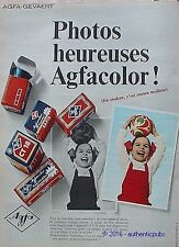 PUBLICITE AGFACOLOR AGFA PHOTO HEUREUSE FILM COULEUR CT 18 DE 1967 FRENCH AD PUB