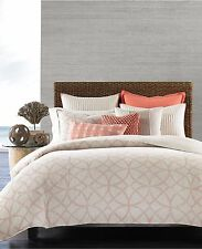 Hotel Collection Textured Lattice 100% Linen Full/Queen Duvet Cover Poppy B214