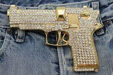 Men Gold Metal Hip Hop Fashion Belt Buckle Gangs Handgun Pistol Gun Iced Out