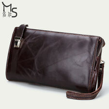 Men's Genuine Leather Purse Long Wallet Zipper Clutch bag Card Holder Chocolate
