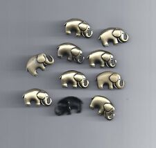 10 Pcs Two-Hole Metal Buttons Elephant Shaped Bronze Tone Sewing Scrapbook (100)
