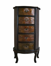 Chinese Drawer Slim Storage Unit Oriental Dark Wood Redwood Bedroom Living Room