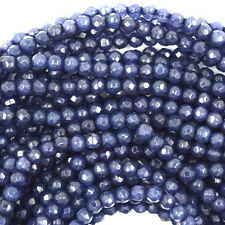 """3mm faceted sapphire blue jade round beads 15"""" strand S2"""