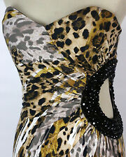 New Authentic Jovani 6437 Gold/Multi Full-Length Prom Formal Evening Dress 6