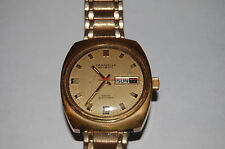 VINTAGE CARAVELLE WATCH DESIGNER MARKED GOLD TONE RETRO AUTOMATIC