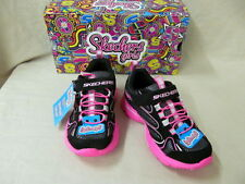 Youth 10.5M Skechers Lite Kicks Sprinterz Black & Pink Hook & Loop Tennis Shoes