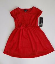 Girl's Party Prom Pageant Grad S/S Soft Velour Sequin Red Dress Sz XS 4-5 SALE