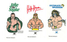 4 WWF Lunch Bags Ultimate Warrior , Jake the Snake Roberts, Hulk Hogan **BONUS**
