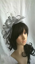 Silver Feather Fascinator.rosette on a headband..for wedding races..new