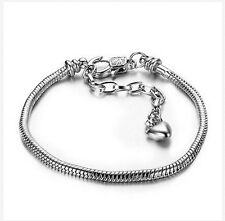 1p Silver Bracelets chain Screw bangle For European sterling 925 Charms Bead a3q