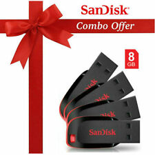 Sandisk Cruzer Blade CZ50 USB Utility Pendrive 8 GB Black & Red (Combo of 8)
