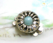#822A Vintage Clasp Sarah Cov Coventry Filigree Blue Glass Victorian One Strand