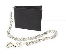 Billfold Chain Wallet Black Genuine Leather Biker Trucker Bifold Wallet USA Made