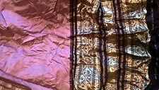 VINTAGE UNUSED VGC SILK SARI FABRIC 500 cm x 105 cm ROSE PINK BROWN GOLD BROCADE