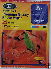 25 Sheets Sumvision A4 135gsm Premium Self Adhesive Gloss Photo Paper