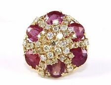 Huge Round Ruby & Diamond Cluster Fashion Cocktail Ring 14k Yellow Gold 22.45Ct