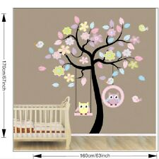 Colourful Tree Wall Stickers Removable for Girls Room Lovely Owls On the Swing