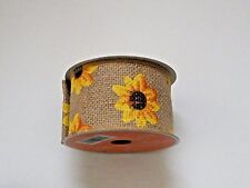 Sunflower Wired Burlap Ribbon Jute Mesh Natural Beige Fall Autumn 2.5 in. 15 ft.