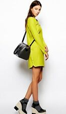 SEE by CHLOE acid green piqué dress abito vestito donna verde acido 42 IT BNWT
