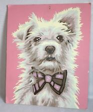 "Vintage Dog Paint by Number Painting White Terrier Puppy Pink 8 x 10"" Bowtie"