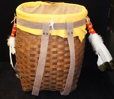 Rare Hand Made Wicker & Leather Backpack Perfect For Picknicks Large Durable