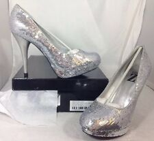NEW TYPE Z Silver Sequin High Heels Women's Shoes Size 9 1/2 Shiny Dress SlipOn