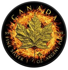 BURNING MAPLE LEAF - 2016 1 oz $5 Fine Silver Coin