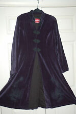 NEW Sz XL Nomads Fair Trade Velvet Aubergine Purple Black Embroidery Coat