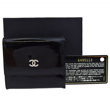 Authentic CHANEL CC Logos Bifold Wallet Purse Patent Leather Black France 09R266