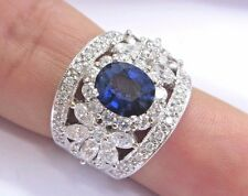18Kt Gem Blue Ceylon Sapphire Multi Shape Diamond White Gold Ring 4.26Ct