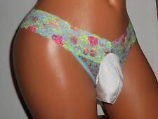 AQUA LIME PINK FLOWER LACE THONG Sissy POUCH Panties 28-38 M MEN SEXY XDRESS