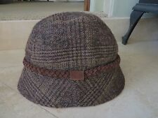 Eddie Bauer Woolen Brown Plaid SuedeTrim Bucket Style Hat NWOT