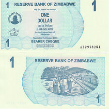 Zimbabwe P37, 1 Diollar, 2 women pounding maize with poles, Bearer Cheque, UNC