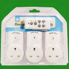 3x Wireless Remote Control Electric Power Saving UK 3 Pin Mains Plug Socket Set