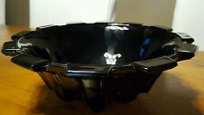 Davidson Victoriana 535 Black Purple Slag Glass Fruit Bowl Trifle Dish Art Deco