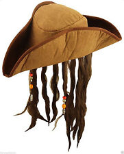 New Adult Brown Caribbean Pirate Hat with Hair & Beads Fancy Dress