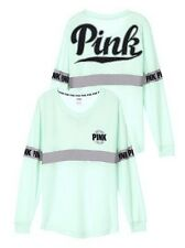 Victoria's Secret PINK Varsity Crew V-Neck Pullover Sweatshirt Mint Green Small