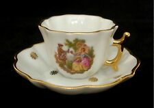 VTG LIMOGES CASTEL MINIATURE WHITE CUP AND SAUCER COURTING COUPLE AND GOLD MINT